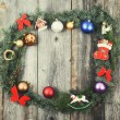 Vintage Christmas background with wreath balls and decorations o — Stock Photo