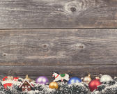 Vintage Christmas background with various colorful decorations o — Stock Photo