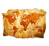 Antique World map with beautiful grunge details isolated on whit — Stock Photo