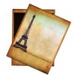 Vintage image of Eiffel tower isolated on white — Stock Photo