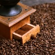 Close up of coffee grinder and grinded coffee — Stock Photo