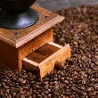 Stock Photo: Close up of coffee grinder and grinded coffee