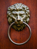 Lion door knocker on wooden door — Stock Photo