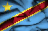 刚果民主主义共和国旗帜 — 图库照片