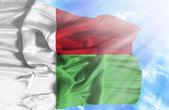 Madagascar waving flag against blue sky with sunrays — Stock Photo