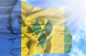 Saint Vincent and Grenadines waving flag against blue sky with s — Stock fotografie
