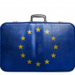 Vintage travel bag with flag of EuropeUnion — Stock Photo #39351269