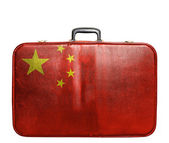 Vintage travel bag with flag of China — Stock Photo