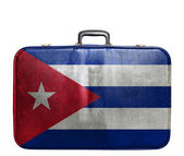 Vintage travel bag with flag of Cuba — Stock Photo