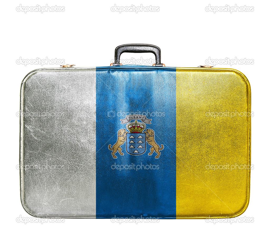 加那利群岛国旗的老式旅行袋