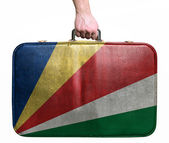 Tourist hand holding vintage leather travel bag with flag of Sey — Stock Photo