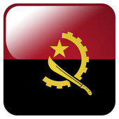 Glossy icon with flag of Angola — Stock Photo