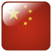 Glossy icon with flag of China — Stock Photo