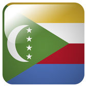 Glossy icon with flag of Comoros — Stock Photo