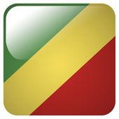 Icono brillante con la bandera de la república del congo — Foto de Stock