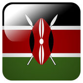 Glossy icon with flag of Kenya — Stock Photo