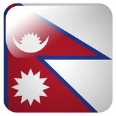 Glossy icon with flag of Nepal — Stock Photo