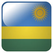 Glossy icon with flag of Rwanda — Stock Photo