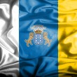 Stock Photo: Canary islands waving flag