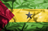 Sao Tome and Principe waving flag — Stockfoto