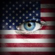 Human face painted with flag of United States of America — Stock Photo
