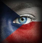 チェコ共和国の旗と塗られる人間の顔 — ストック写真