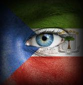 Ludzka twarz malowane z flaga gwinei równikowej — Zdjęcie stockowe