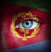 Human face painted with flag of Eritrea — Stock Photo