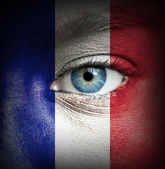Human face painted with flag of France — Stock Photo