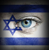 Human face painted with flag of Israel — Stock Photo