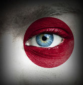 Human face painted with flag of Japan — Stock Photo
