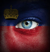 Human face painted with flag of Liechtenstein — Stock Photo