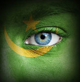 Human face painted with flag of Mauritania — Stock Photo