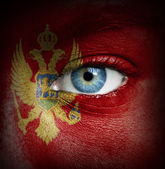 Human face painted with flag of Montenegro — Stock Photo