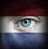 Human face painted with flag of Netherlands — Stock Photo