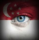 シンガポールの旗と塗られる人間の顔 — ストック写真