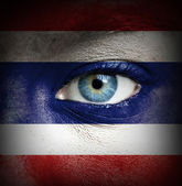 Human face painted with flag of Thailand — Stock Photo