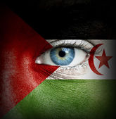 Human face painted with flag of Western Sahara — Stock Photo