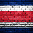 Stock Photo: Brick wall with painted flag of CostRica