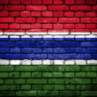 Brick wall with painted flag of Gambia — Stock Photo #41758109