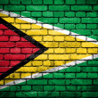 Brick wall with painted flag of Guyana — Stock Photo