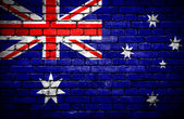 Brick wall with painted flag of Australia — Stock Photo