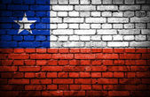 Brick wall with painted flag of Chile — Stock Photo