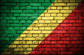 Brick wall with painted flag of Congo Republic — Стоковое фото