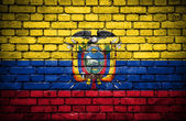 Brick wall with painted flag of Ecuador — Stock Photo