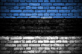 Brick wall with painted flag of Estonia — Stock Photo