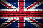 Brick wall with painted flag of Great Britain — Stock Photo