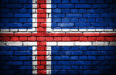 Brick wall with painted flag of Iceland — Stock Photo