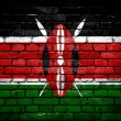 Brick wall with painted flag of Kenya — Stock Photo