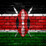Brick wall with painted flag of Kenya — Stock Photo